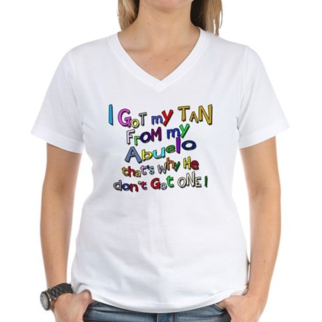 I got my Tan - Abuelo (Grandd Women's V-Neck T-Shi