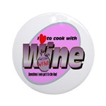 I Love Wine Ornament (Round)