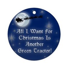 A Green Tractor Christmas Ornament (Round)