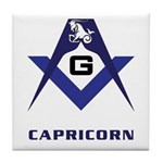Masonic Capricorn Sign Tile Coaster
