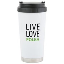 Live Love Polka Ceramic Travel Mug