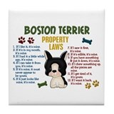 Boston Terrier Property Laws 4 Tile Coaster