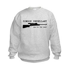 Zombie Repellant Rifle Kids Sweatshirt