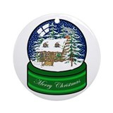 Log cabin Round Ornaments