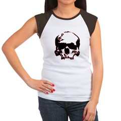 Black and Red Graphic Skull Women's Cap Sleeve T-S