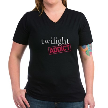 Twilight Addict Women's V-Neck Dark T-Shirt