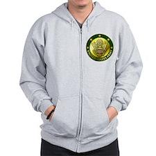 Army Green Logo Zip Hoodie