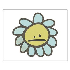 Sad Blue Flower Cartoon Posters
