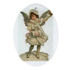 Vintage Christmas Angel Oval Ornament
