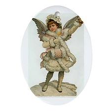 Vintage Christmas Angel Oval Ornament