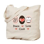 Peace Love Cook Chef Tote Bag