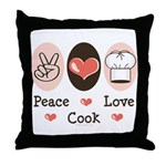 Peace Love Cook Chef Throw Pillow