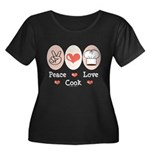 Peace Love Cook Chef Women's Plus Size Scoop Neck