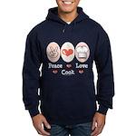 Peace Love Cook Chef Hoodie (dark)