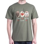 Peace Love Cook Chef Dark T-Shirt