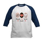 Peace Love Cook Chef Kids Baseball Jersey