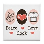 Peace Love Cook Chef Tile Coaster
