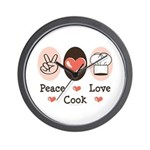 Peace Love Cook Chef Wall Clock