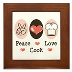 Peace Love Cook Chef Framed Tile