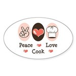 Peace Love Cook Chef Oval Sticker