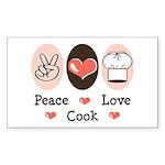 Peace Love Cook Chef Rectangle Sticker 50 pk)