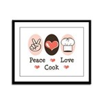 Peace Love Cook Chef Framed Panel Print