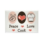 Peace Love Cook Chef Rectangle Magnet (10 pack)