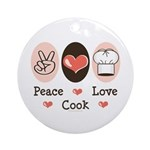 Peace Love Cook Chef Ornament (Round)
