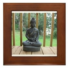 Funny Meditating buddha Framed Tile