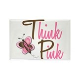 Think Pink 1 Butterfly 2 Rectangle Magnet