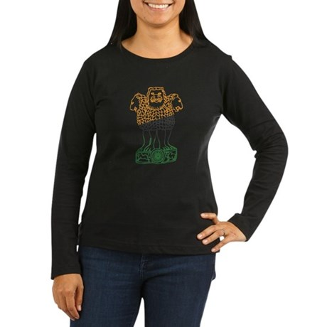 Indian National Emblem Women's Long Sleeve Dark T-