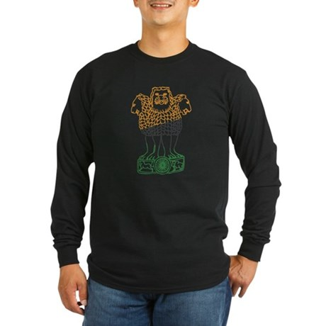 Indian National Emblem Long Sleeve Dark T-Shirt