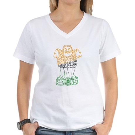 Indian National Emblem Women's V-Neck T-Shirt