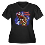 Santa Paws Women's Plus Size V-Neck Dark T-Shirt