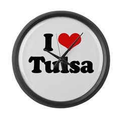 I love Tulsa Large Wall Clock