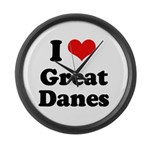 I Love Great Danes Large Wall Clock
