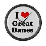 I Love Great Danes Large Wall Clock