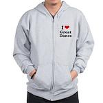 I Love Great Danes Zip Hoodie