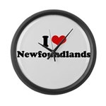 I Love Newfoundlands Large Wall Clock