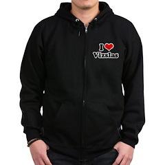 I Love Vizslas Zip Hoodie (dark)