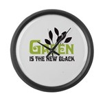 Green is the new black Large Wall Clock