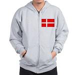 Danish / Denmark Flag Zip Hoodie