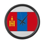 Mongolian Flag Large Wall Clock