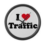 I love traffic Large Wall Clock