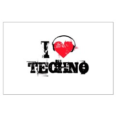 I love techno Large Poster