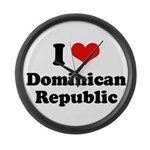 I love Dominican Republic Large Wall Clock