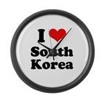 I Love South Korea Large Wall Clock