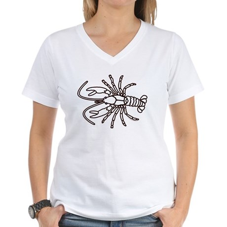 Crawfish White Women's V-Neck T-Shirt