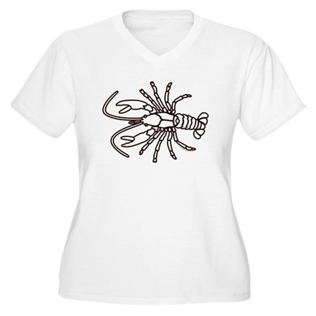 Crawfish White Women's Plus Size V-Neck T-Shirt