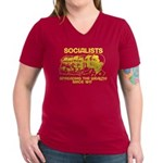 Socialists Obama Women's V-Neck Dark T-Shirt